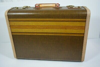 Vintage 1940 Tweed Luggage Hard Sided Train Case Lucite Carry On Suitcase