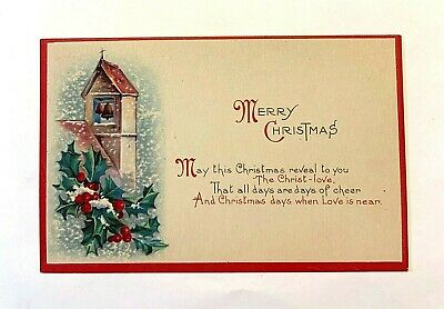 """Vintage """"Merry Christmas"""" Snowing Scene with Church Bells and Holly PC 503"""