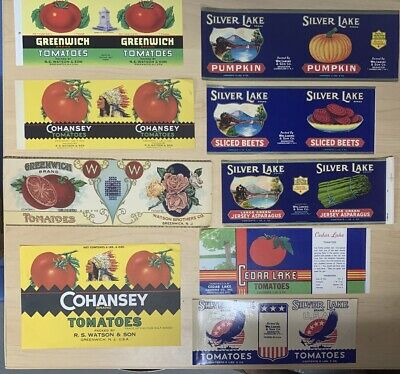 9 NJ Vintage Tomato, asparagus, beets, and pumpkin tin can labels Cohansey