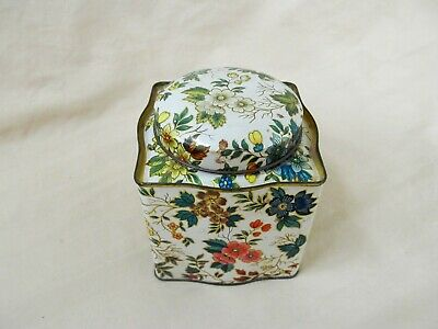 Vintage Daher Floral Squarish Metal Tin Container w Round Lid Made in England