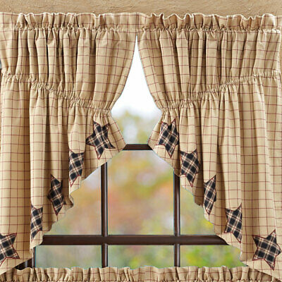 Bingham Star Applique Prairie Curtains