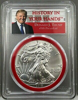 2018 American Silver Eagle PCGS MS70 Donald J. Trump ~ History in Your Hands RED