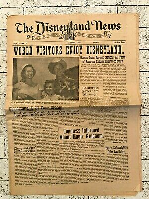 Rare Vintage Walt Disney's Disneyland News - August 1955 Volume 1 Number 2