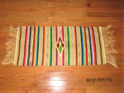 "Vtg 33"" Tan Wool Eye Dazzler Southwestern Mexican Wool Serape Rug Saddle Blanket"