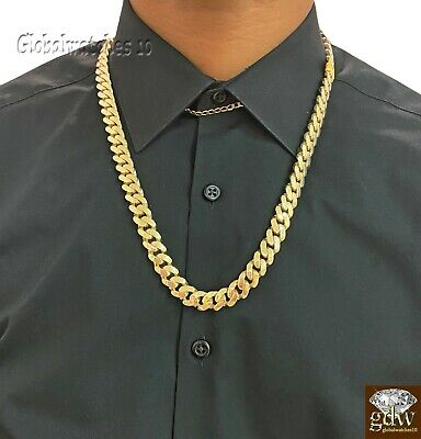 Solid 10k Gold Mens Miami Cuban Royal Link Chain 24 inch 11mm  Real Gold