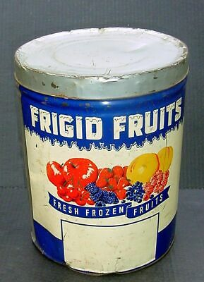 "Vtg 50s FRIGID FRUITS 30 lb Canco Tin Can 12"" x 10"" GC"