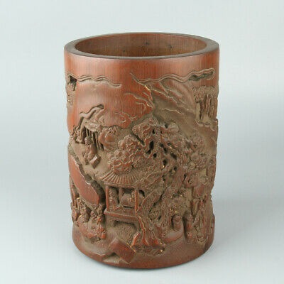 Chinese Exquisite Hand carved bamboo Brush pot