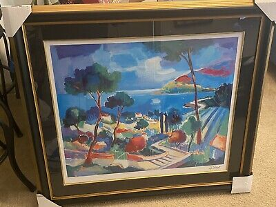 "Jean Claude Picot Framed Matted Art ""L'Escalier a Theoule"" Seriolithograph"