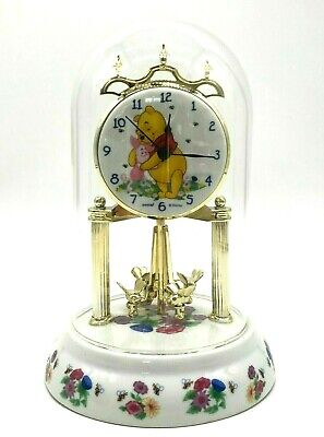 "DISNEY'S WINNIE THE POOH Anniversary Clock Porcelain Base & Dial Glass Dome 9"" H"