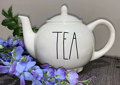"Rae Dunn Magenta Pottery Large Round TEAPOT with Long Letters ""TEA"" Stamp ~ 181"