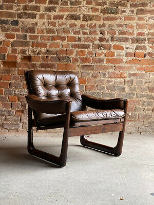 Mid Century Danish Rosewood Armchair with Sled base Leather Rosewood Circa 1970