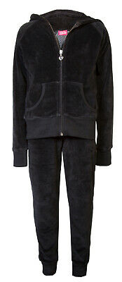 Childrens Girls Velour Cuff Lounge Tracksuit Black Age 2/3 Brand New