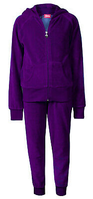 Childrens Girls Velour Cuff Lounge Tracksuit Purple Age 2/3 Brand New