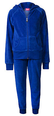 Childrens Girls Velour Cuff Lounge Tracksuit Royal Blue Age 2/3 Brand New