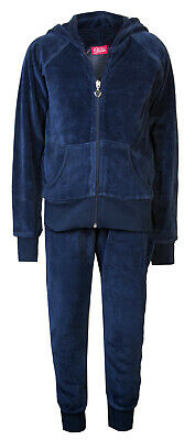 Childrens Girls Velour Cuff Lounge Tracksuit Navy Blue Age 2/3 Brand New