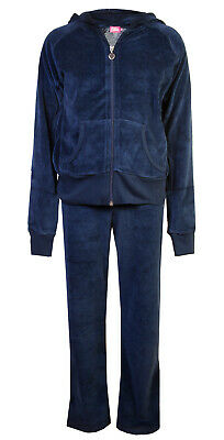 Childrens Velour Tracksuit Girls Lounge Suit Hoody Joggers Navy Blue Age 2/3