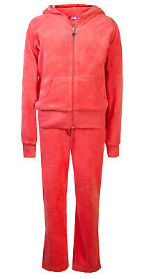 Childrens Velour Tracksuit Girls Lounge Suit Coral Age 5/6