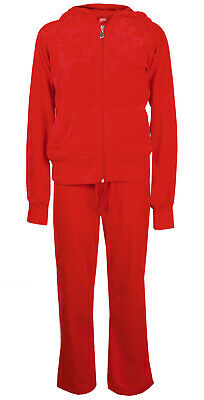 Childrens Velour Tracksuit Girls Lounge Suit Red Age 2/3