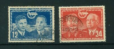 East Germany 1951 German Soviet Friendship full set of stamps. Used. Sg E53-54.