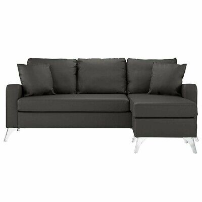 Bonded Leather Sectional Sofa Small Space Couch Reversible Ottoman Dark Grey