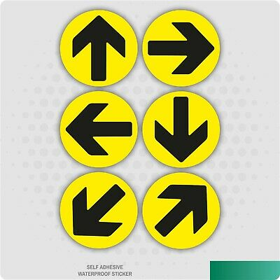 6 x Direction Arrows Yellow / Black Self-Adhesive Stickers Social Distance Signs
