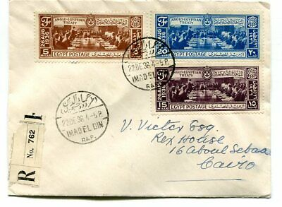 Egypt 1936 Anglo-Egyptian Treaty on registered first day cover, posted locally