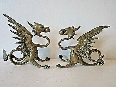 Pair Chinese Brass Dragons  Kylin Chi-lin Qilin God  Beast Feng shui Statue