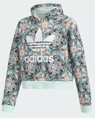 CL8# Adidas Girls Cropped Zoo Hoodie Age 11-12 Yrs