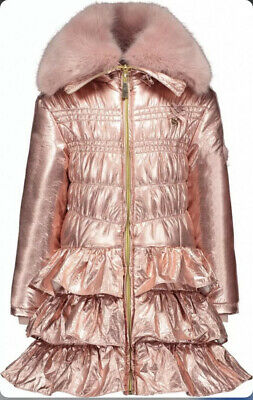 CL8# Le Chic Collection Girls Metal Look Pink Winter Coat Size 128
