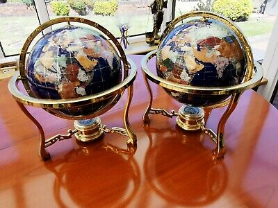 2 X Large Semi Precious Gemstone World Globes On Brass Stand With Compass.