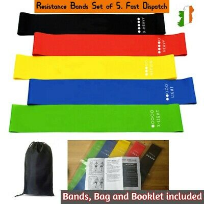 Resistance Bands Set of 5 Loop - Home Gym Fitness Strength Training Physio
