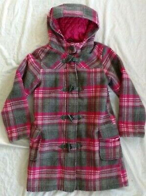 Girls John Lewis Wool Mix Pink & Grey Duffle Coat - Age 9-10 Years