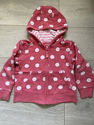 Next Girls Pink Spotty Hoodie Age 2-3 Years