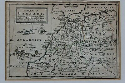 C18 antique Herman Moll map of Barbary Coast, Sahara, Morocco, Algeria