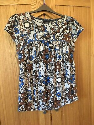 Next Maternity 16 Pregnacy Top Blue & Brown Retro 60s Pattern