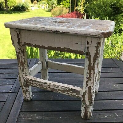 Rustic old chippy painted French Wooden Chop Stool