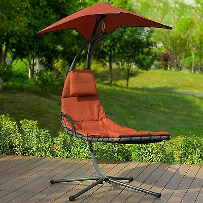 Swing Chair Parasol UV Protection Helicopter Hanging Chaise Lounger Garden RED
