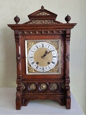 ANTIQUE VICTORIAN OAK LENZKIRCH Ting-Tang BRACKET CLOCK. CUNARD PRESENTATION