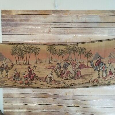 Vintage Tapestry Wall Hanging Runner Desert Oasis Made in Italy Arabian Camels