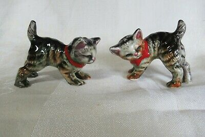 Vintage Cat Salt & Pepper Shakers Grey Tabby Red Ribbons Japan