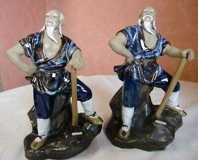 Two Oriental (Chinese?) Glazed Clay Figures of Workers