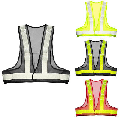 Waistcoat Mesh Fabric Reflective Vest Parking Day Night Stripes Safety Tops