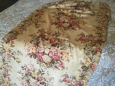 Lovely Vintage Drape Barkcloth Era Textured Woven Tea Stain Look Pink Roses