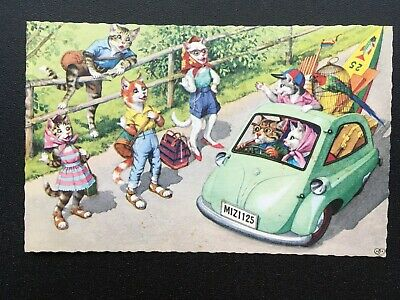 Hitchhikers Alfred Mainzer 4936 Postcard Anthropomorphic Cats Fun Comic Funny