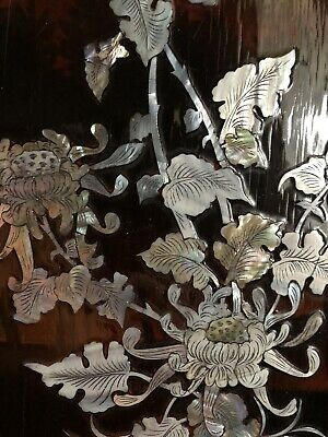 3 Oriental Red Lacquer Wood Panels Wall Hanging Mother of Pearl Abalone Vintage