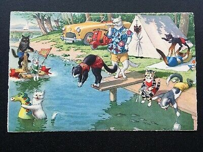 Camping Alfred Mainzer 4747 Postcard Anthropomorphic Cats Fun Comic Funny