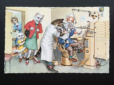 Dentist Alfred Mainzer 4960 Postcard Anthropomorphic Cats Fun Comic Funny