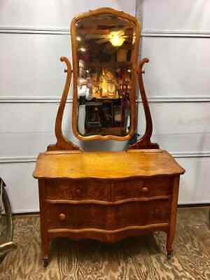Antique Birds-Eye Maple Bow Front Dresser with Beveled Mirror