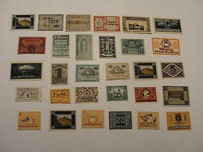 Vintage Notgeld**Lot Of 30 Different**German Paper Currency**Dated 1919-20-21