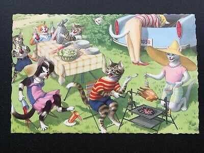Picnic Alfred Mainzer 4890 Postcard Anthropomorphic Cats Fun Comic Funny